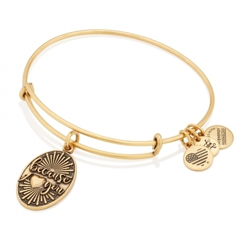 Alex and Ani Because I Love You Charm Gold Bangle A16EB127RG