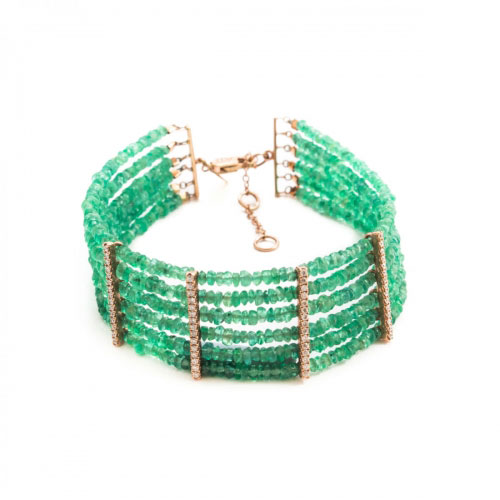 Meira T Green Spinel Bead And Diamond Bracelet
