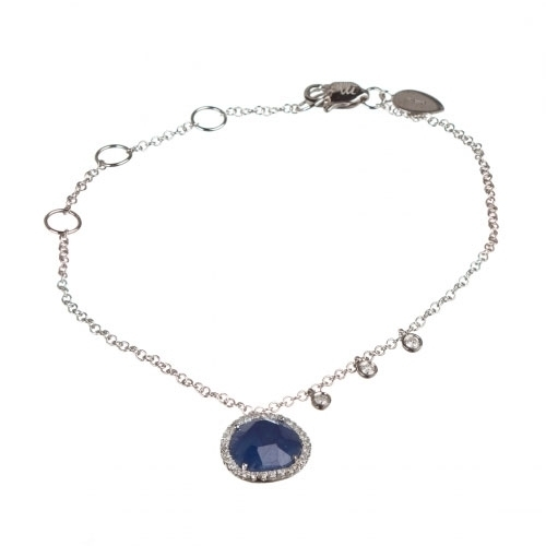 Meira T Blue Sapphire And Diamond Bezel White Gold Bracelet 1B4541