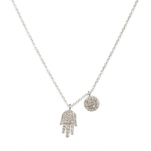 Meira T White Gold And Diamond Hamsa Necklace