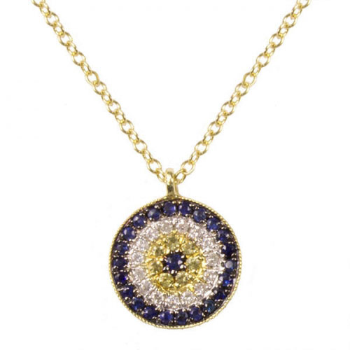 Meira T Diamond And Sapphire Evil Eye Necklace