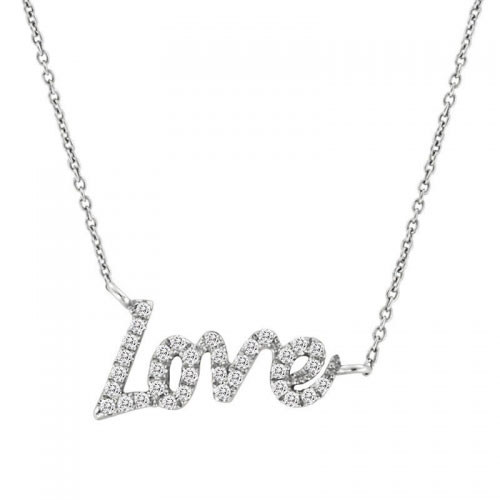Meira T White Gold Diamond Love Necklace