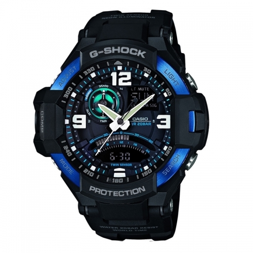 Casio G-Shock Sky Cockpit Gravity Defier Men's Black Alarm Chronograph Watch GA-1000-2BER