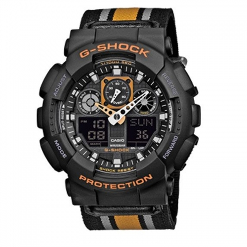 Casio G-Shock Stripe Canvas Men's Black Alarm Chronograph Watch GA-100MC-1A4ER