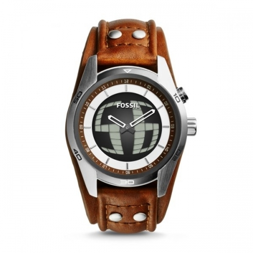 Fossil Two Hand Coachman Leather Watch with Digital Dial
