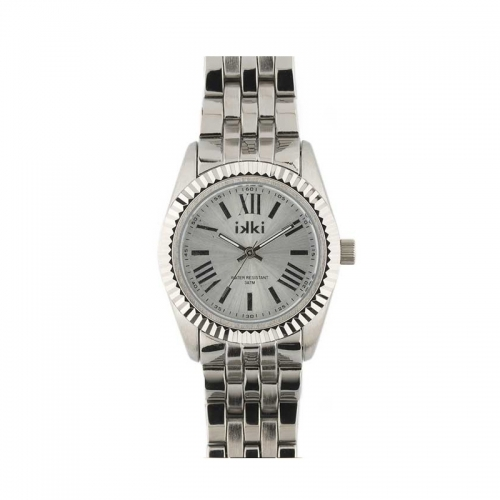 Ikki Medium Silver Ridged Bezel Watch