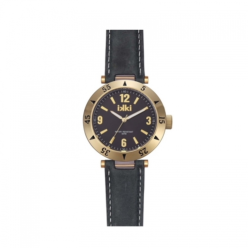 Ikki Medium Gold Leather Strap Watch