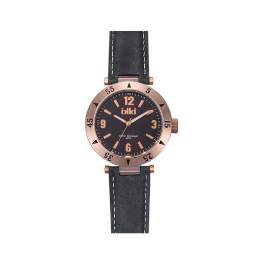 Ikki Medium Rose Gold Leather Strap Watch