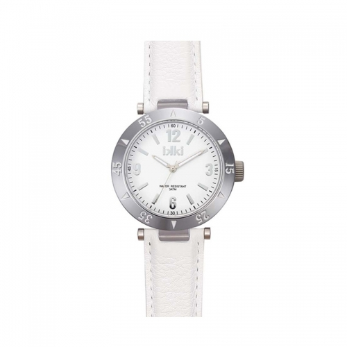 Ikki Medium All White Leather Strap Watch