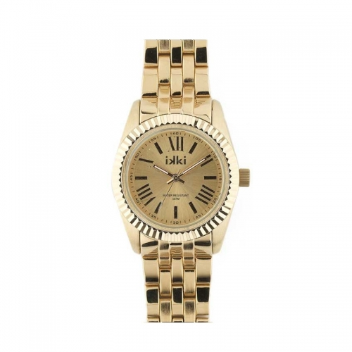 Ikki Medium Gold Ridged Bezel Watch