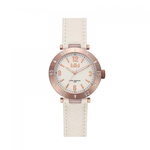 Ikki Rose Gold and White Strap Watch