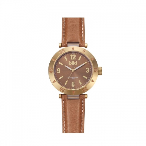 Ikki Brown Leather Strap Watch