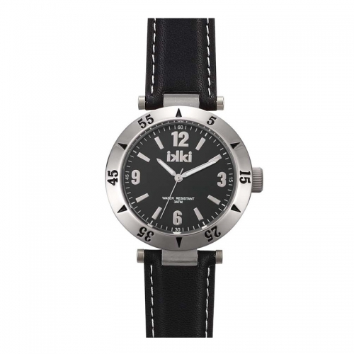 Ikki All Black Leather Strap Watch