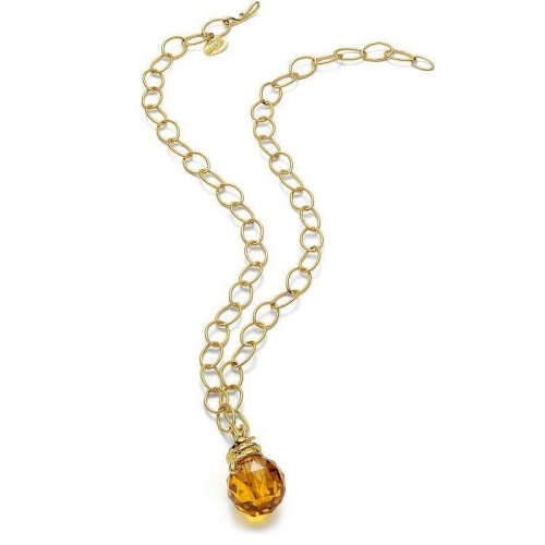 Just Cavalli Boule Gold and Amber Stone Necklace