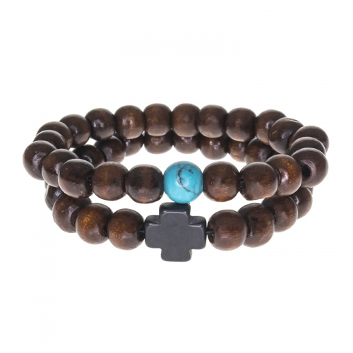 Tag Twenty Two Turquoise and Cross Bamboo Bracelet Set