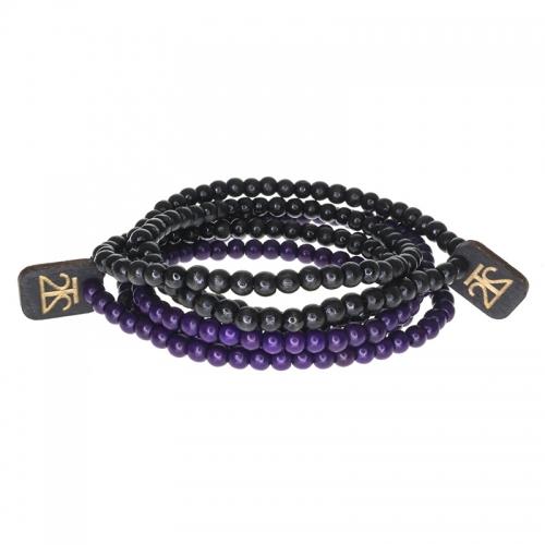 Tag Twenty Two Purple and Black Wraparound Bracelet Set