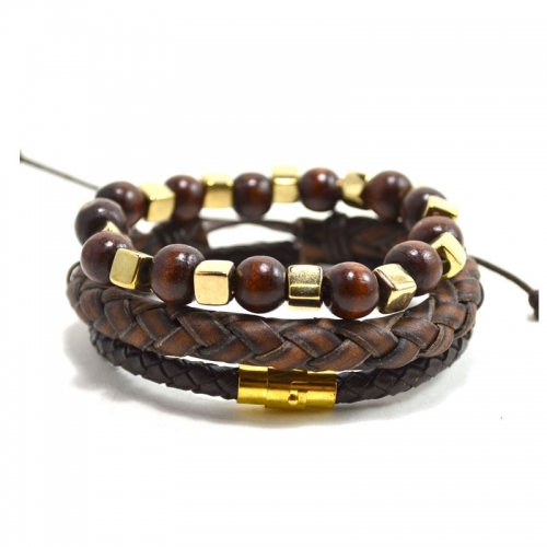 Tag Twenty Two Leather Brown and Gold Set