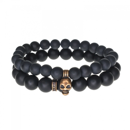 Tag Twenty Two Onyx and Bronze Skull Set