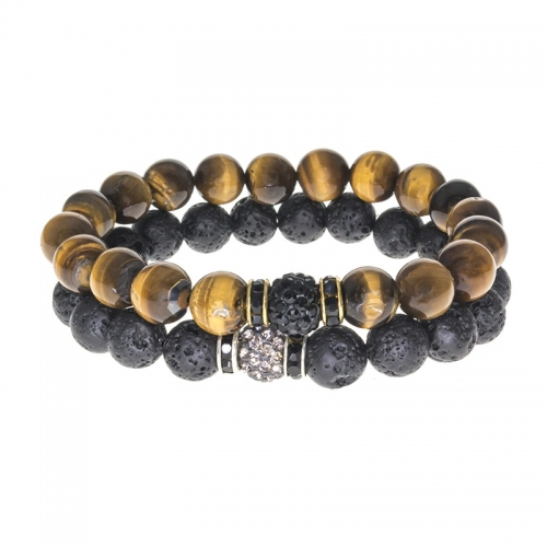 Tag Twenty Two Tiger Eye and Lava Rock Shamballa Set