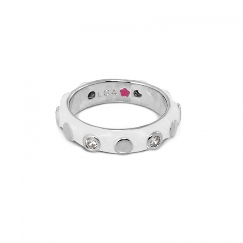 Lauren G Adams White Silver Circles Stackable Ring