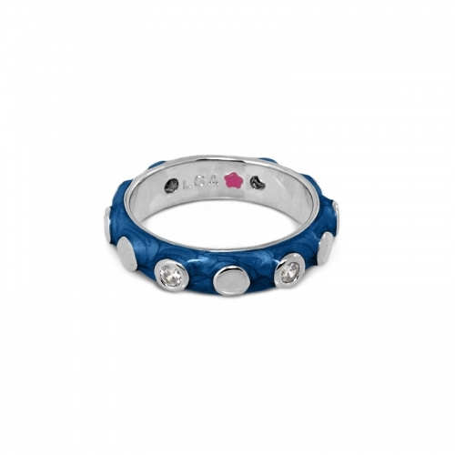 Lauren G Adams Navy Silver Circles Stackable Ring