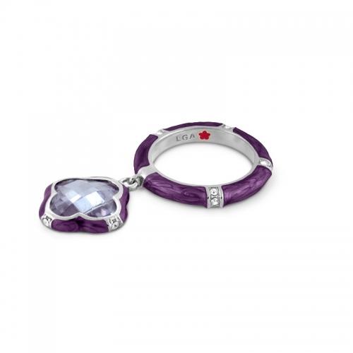 Lauren G Adams Lavender Clover Charm Ring