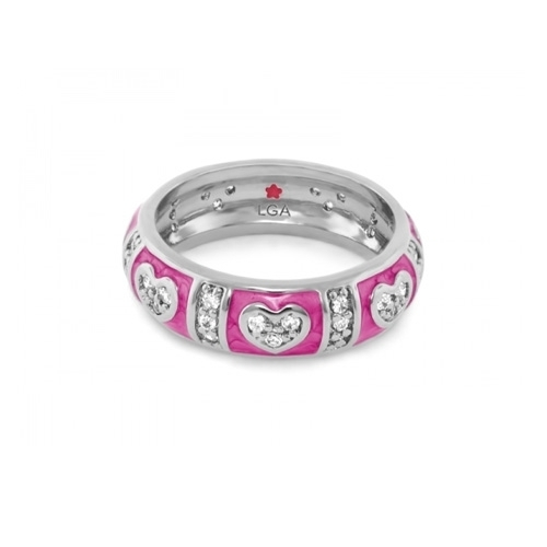 Lauren G Adams Magenta Heart Stackable Ring