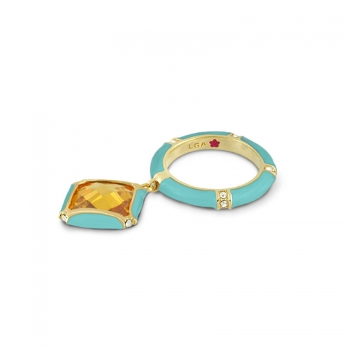 Lauren G Adams Turquoise Square Charm Ring