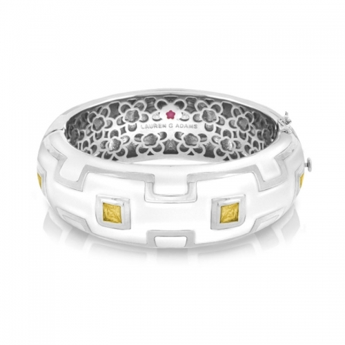 Lauren G Adams White Square Pattern Bangle
