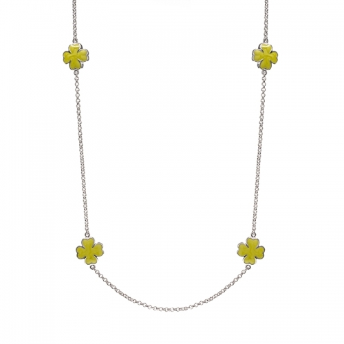 Lauren G Adams Silver and Green Daisy Love Necklace