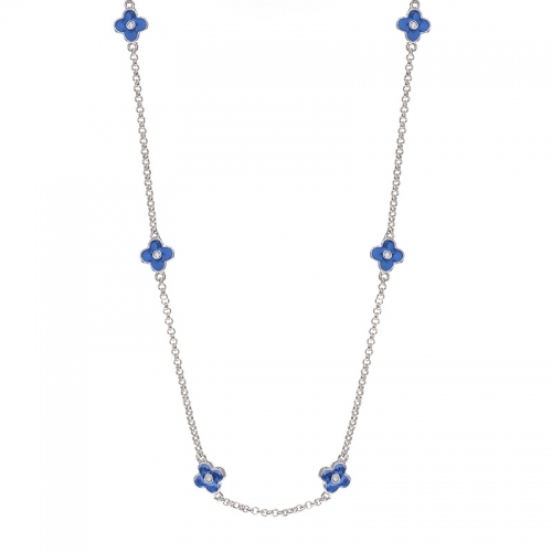Lauren G Adams Silver and Blue Flower Necklace