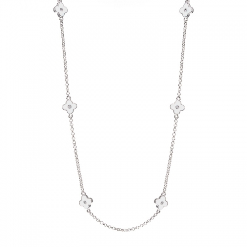Lauren G Adams Silver and White Flower Necklace