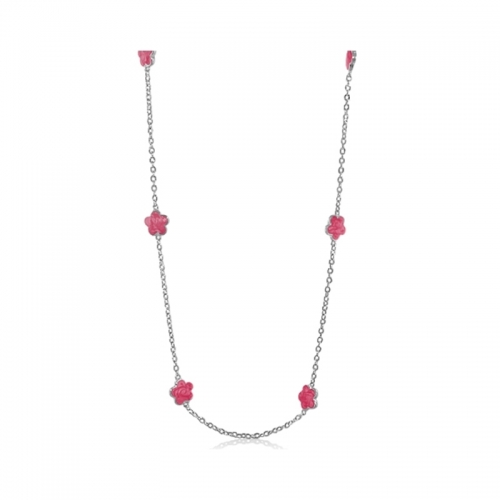 Lauren G Adams Silver and Pink Daisy Necklace