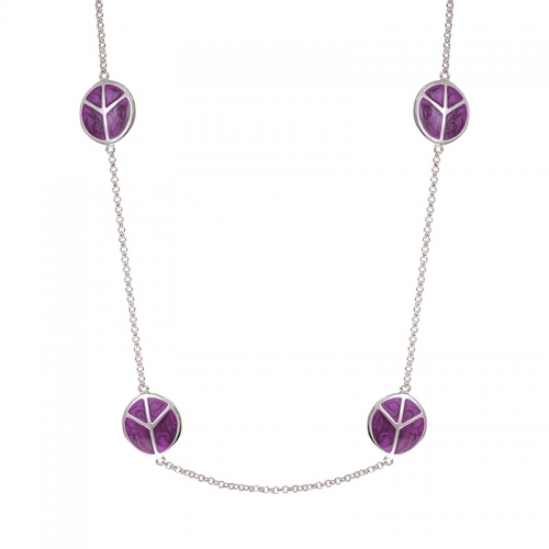 Lauren G Adams Silver and Purple Peace Sign Necklace