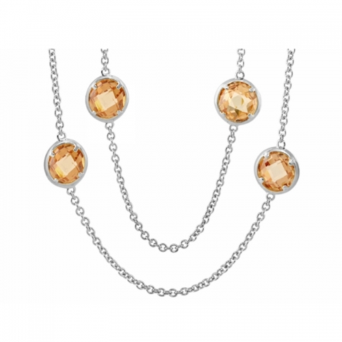 Lauren G Adams Silver and Champagne Glamour By The Yard Necklace