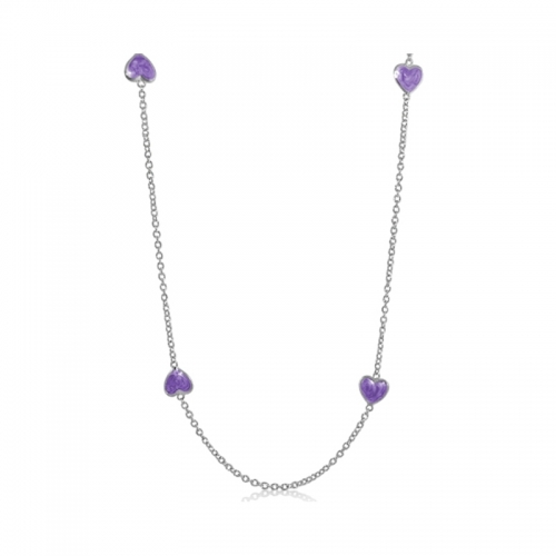 Lauren G Adams Silver with Purple Enamel Necklace