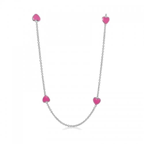 Lauren G Adams Silver with Pink Enamel Necklace