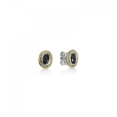 Pandora Silver & Black CZ Halo Stud Earrings 290996CZK