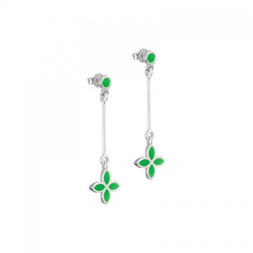 Pandora Green Flower Dangle Earrings