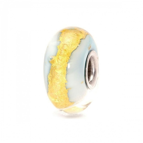 Trollbeads Light Blue Gold Silver & Glass Bead TGLBE-20052
