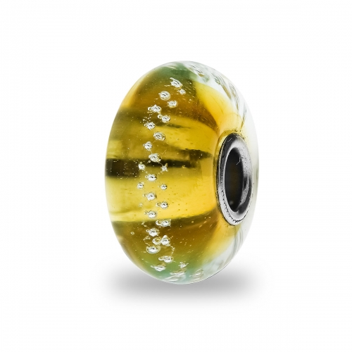 Trollbeads Gold Silver Trace Silver & Glass Bead TGLBE-20058