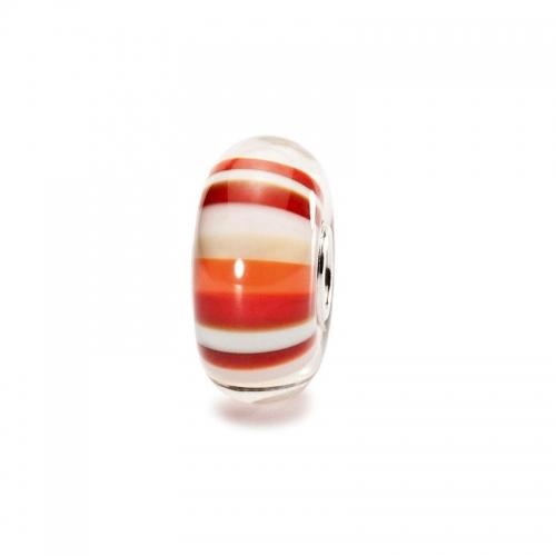 Trollbeads Strawberry Stripes Silver & Glass Bead 61465