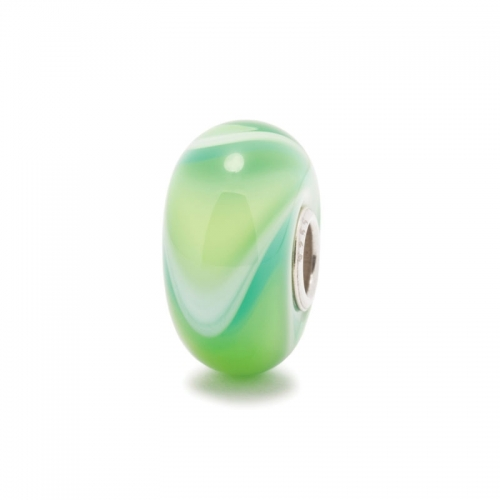 Trollbead Mixed Green Armadillo Silver & Glass Bead 61444