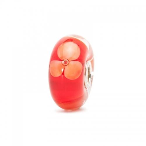 Trollbeads Peach Flowers Silver & Glass Bead 61454