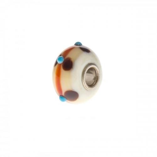 Trollbeads White, Brown and Orange Unique Silver & Glass Bead