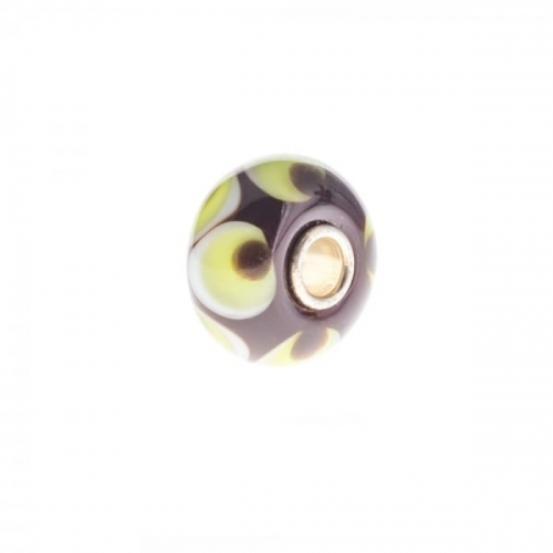 Trollbeads Brown and Green Unique Silver & Glass Bead