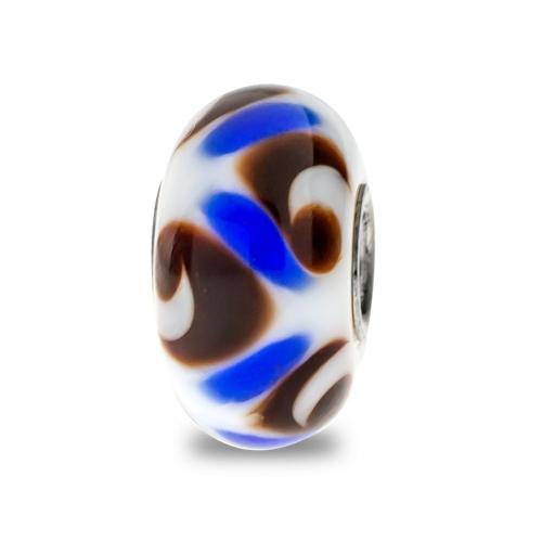 Trollbeads White, Brown and Blue Unique Silver & Glass Bead
