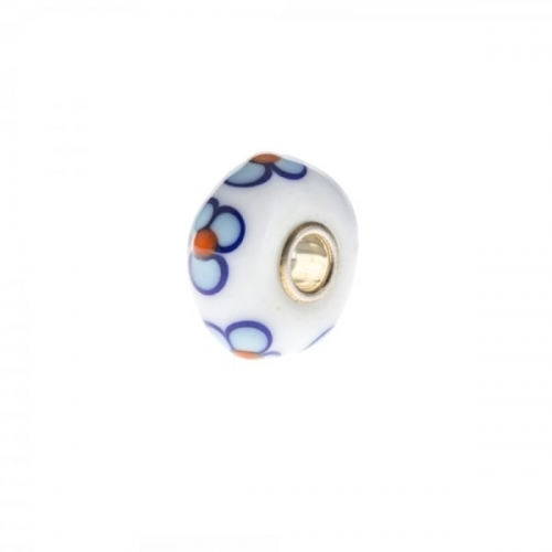 Trollbeads Trollbeads White, Blue and Orange Unique Silver & Glass Bead
