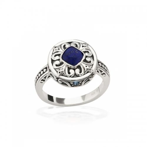 Storywheels Silver & Lapis Halo Ring R7930MUL1
