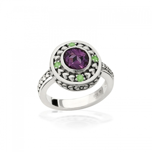 Storywheels Silver & Amethyst Halo Ring R7966MUL2